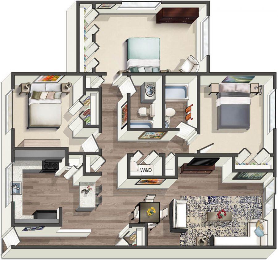 3 Bedroom 2 Bath Manor I